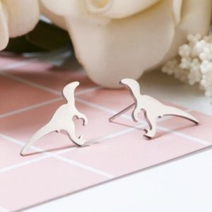 Tiny Dinosaur Stainless Steel Minimalist Earrings
